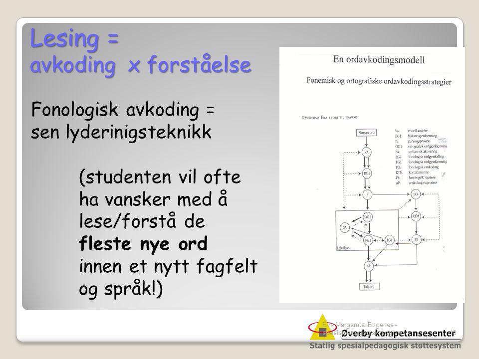 Eva Margareta Engenes - spesialpedagogisk rådgiver10 Lesing = avkoding x forståelse Fonologisk avkoding = sen lyderinigsteknikk (studenten vil ofte ha