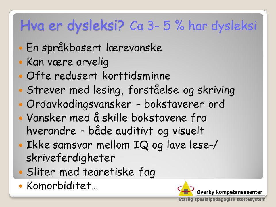 Hva er dysleksi? Hva er dysleksi? Ca 3- 5 % har dysleksi  En språkbasert lærevanske  Kan være arvelig  Ofte redusert korttidsminne  Strever med le