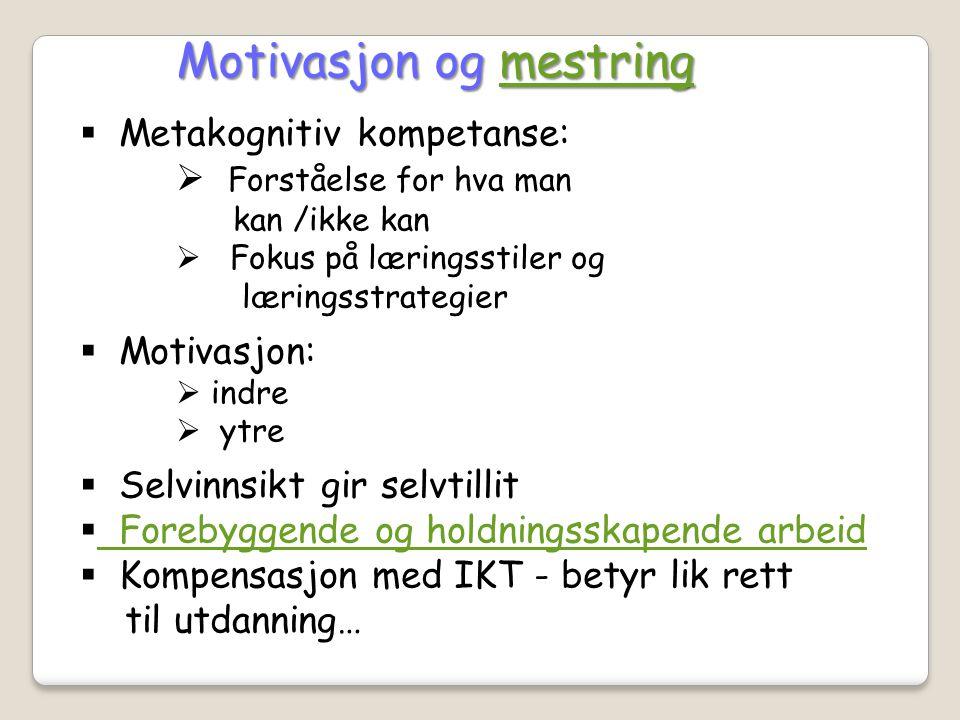  Metakognitiv kompetanse:  Forståelse for hva man kan /ikke kan  Fokus på læringsstiler og læringsstrategier  Motivasjon:  indre  ytre  Selvinn
