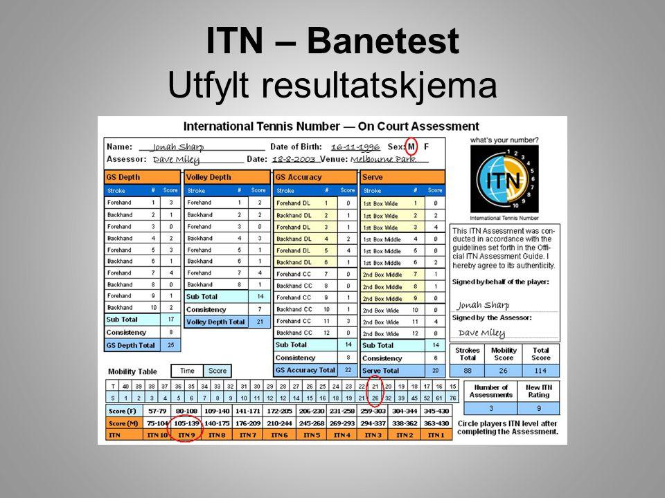 ITN – Banetest Utfylt resultatskjema