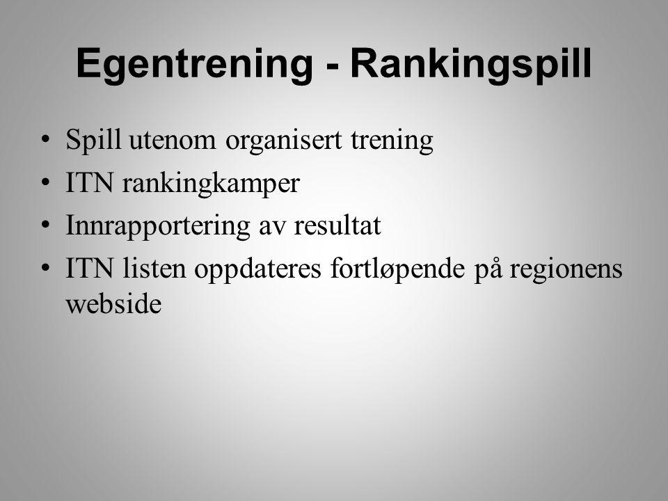 Egentrening - Rankingspill • Spill utenom organisert trening • ITN rankingkamper • Innrapportering av resultat • ITN listen oppdateres fortløpende på regionens webside