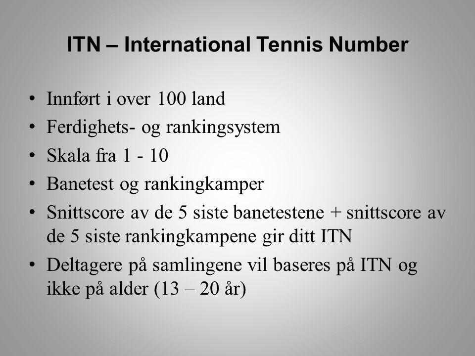 ITN – International Tennis Number • Innført i over 100 land • Ferdighets- og rankingsystem • Skala fra 1 - 10 • Banetest og rankingkamper • Snittscore av de 5 siste banetestene + snittscore av de 5 siste rankingkampene gir ditt ITN • Deltagere på samlingene vil baseres på ITN og ikke på alder (13 – 20 år)