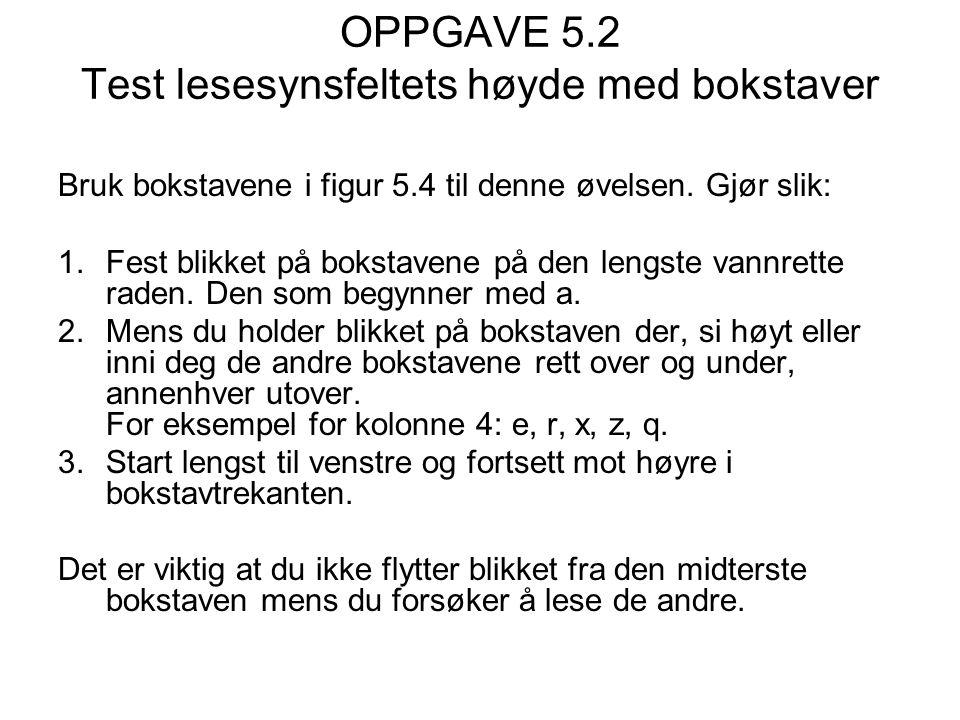 OPPGAVE 5.2 Test lesesynsfeltets høyde med bokstaver Bruk bokstavene i figur 5.4 til denne øvelsen.
