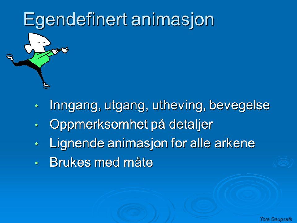 Tore Gaupseth • Oppmerksomhet på detaljer • Brukes med måte • Lignende oppsett for alle arkene Animasjoner