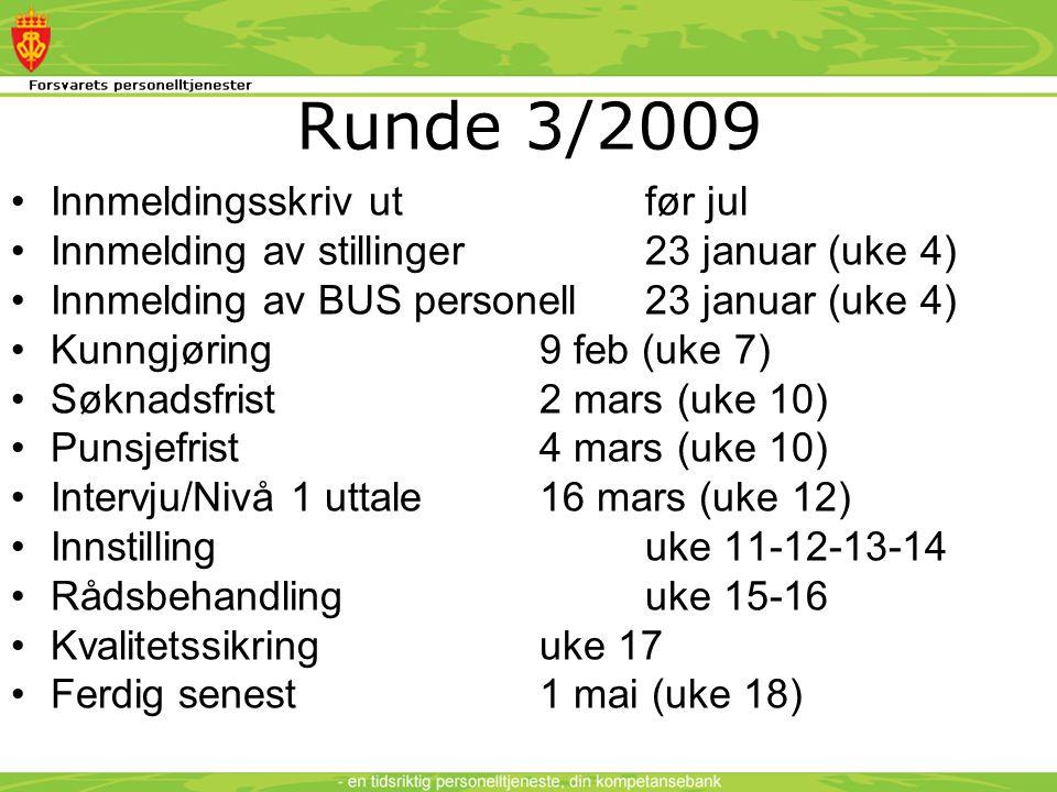 Runde 3/2009 •Innmeldingsskriv utfør jul •Innmelding av stillinger 23 januar (uke 4) •Innmelding av BUS personell23 januar (uke 4) •Kunngjøring9 feb (uke 7) •Søknadsfrist 2 mars (uke 10) •Punsjefrist 4 mars (uke 10) •Intervju/Nivå 1 uttale16 mars (uke 12) •Innstillinguke 11-12-13-14 •Rådsbehandlinguke 15-16 •Kvalitetssikringuke 17 •Ferdig senest1 mai (uke 18)