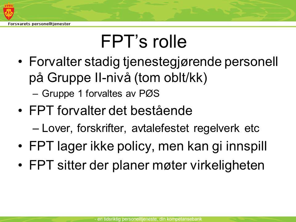 FPT's rolle •Forvalter stadig tjenestegjørende personell på Gruppe II-nivå (tom oblt/kk) –Gruppe 1 forvaltes av PØS •FPT forvalter det bestående –Lover, forskrifter, avtalefestet regelverk etc •FPT lager ikke policy, men kan gi innspill •FPT sitter der planer møter virkeligheten