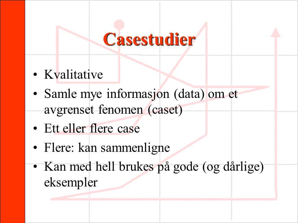 Casestudier •Kvalitative •Samle mye informasjon (data) om et avgrenset fenomen (caset) •Ett eller flere case •Flere: kan sammenligne •Kan med hell bru