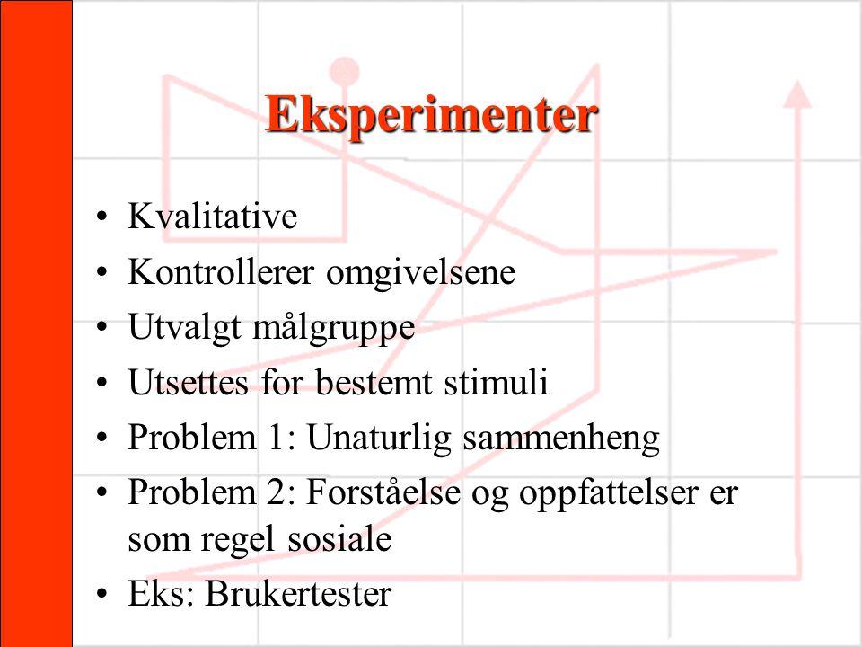 Eksperimenter •Kvalitative •Kontrollerer omgivelsene •Utvalgt målgruppe •Utsettes for bestemt stimuli •Problem 1: Unaturlig sammenheng •Problem 2: For