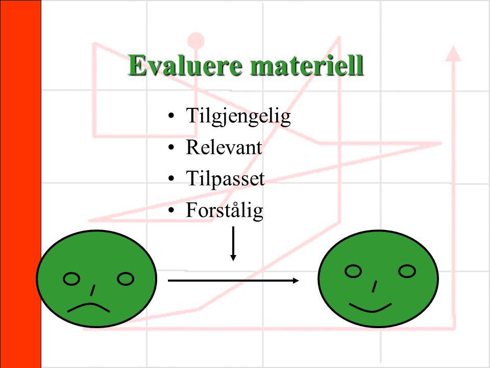 Evaluere materiell •Tilgjengelig •Relevant •Tilpasset •Forstålig