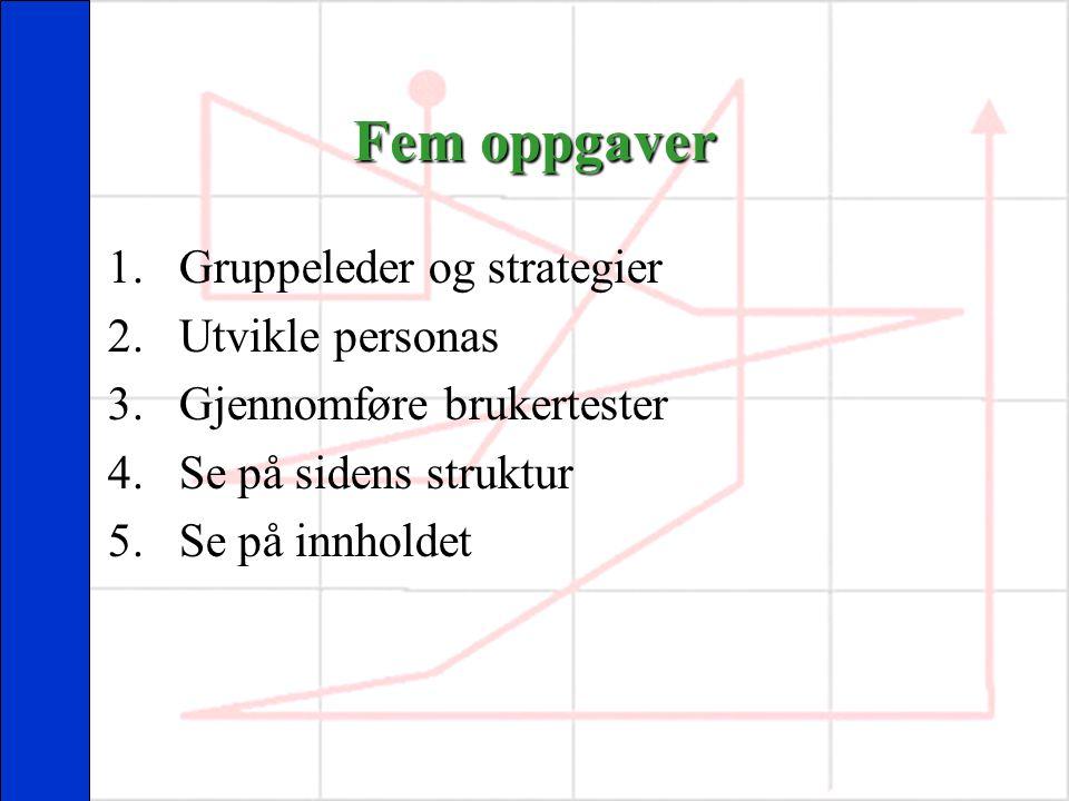 Fem oppgaver 1.Gruppeleder og strategier 2.Utvikle personas 3.Gjennomføre brukertester 4.Se på sidens struktur 5.Se på innholdet
