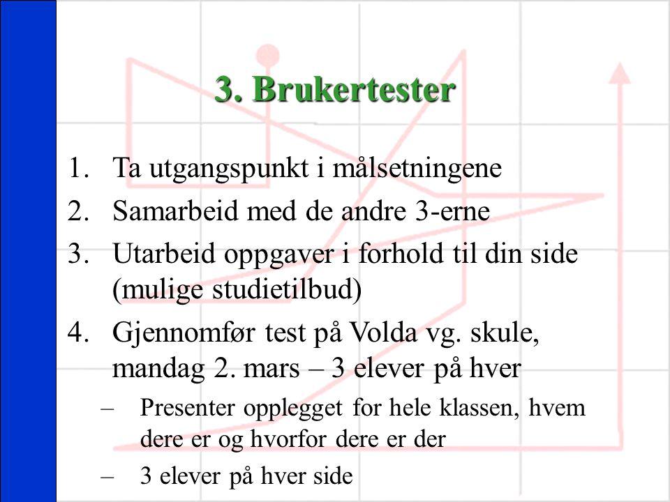 3. Brukertester 1.Ta utgangspunkt i målsetningene 2.Samarbeid med de andre 3-erne 3.Utarbeid oppgaver i forhold til din side (mulige studietilbud) 4.G