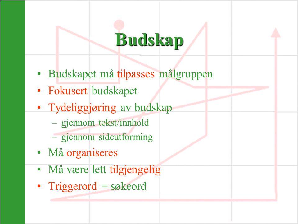Evaluering av nettsider 1.Om siden (navigasjon og design) 2.Innholdet (målsetning) 3.Forholdet til brukeren (målgruppen)