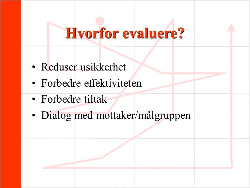 Hvorfor evaluere? •Reduser usikkerhet •Forbedre effektiviteten •Forbedre tiltak •Dialog med mottaker/målgruppen