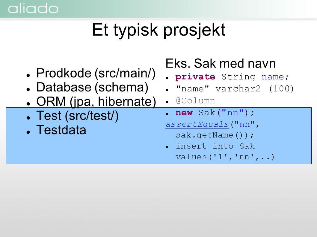 Et typisk prosjekt  Prodkode (src/main/)  Database (schema)  ORM (jpa, hibernate)  Test (src/test/)  Testdata Eks. Sak med navn  private String