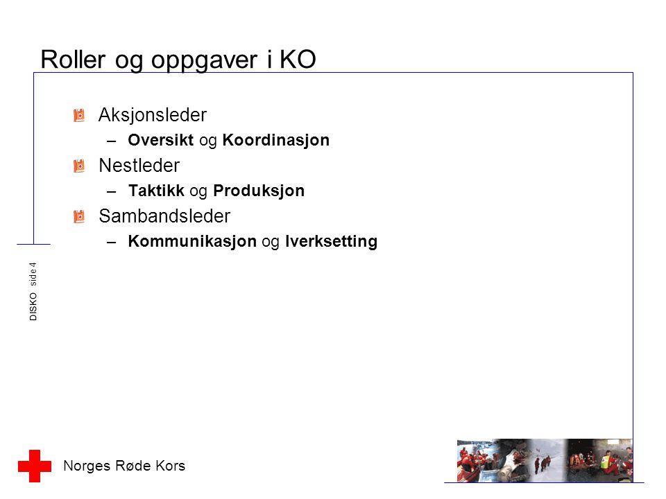 Norges Røde Kors DISKO side 4 Roller og oppgaver i KO Aksjonsleder –Oversikt og Koordinasjon Nestleder –Taktikk og Produksjon Sambandsleder –Kommunikasjon og Iverksetting