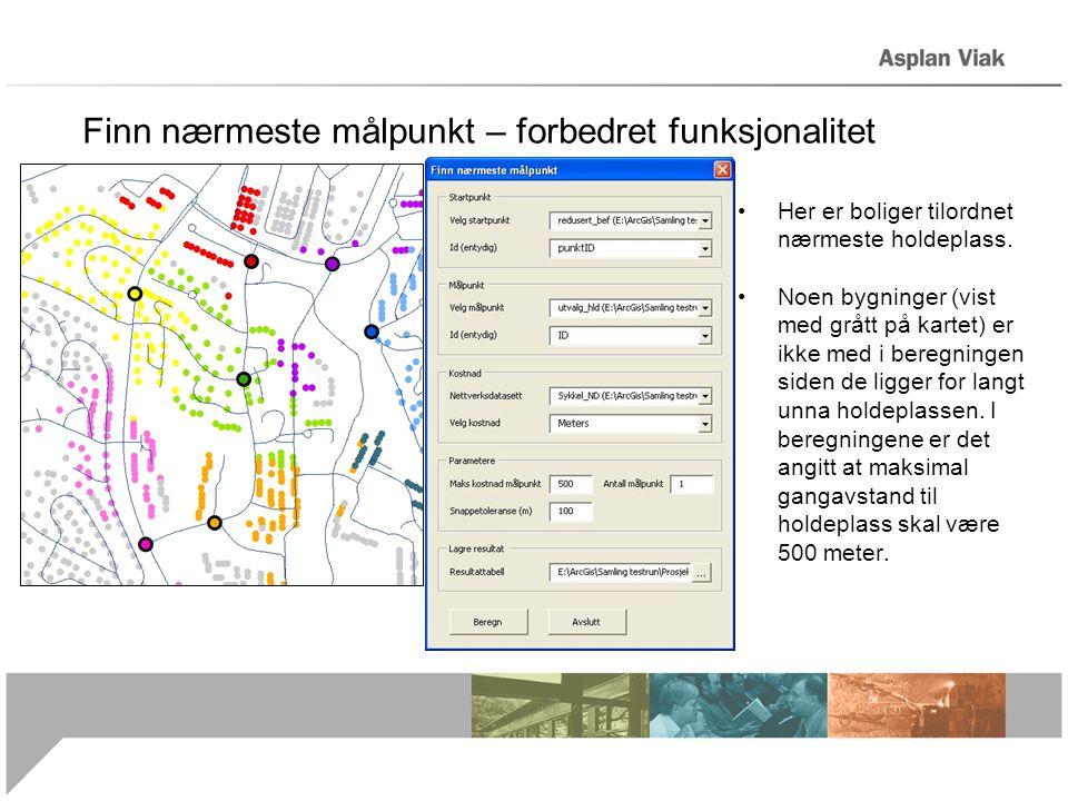 Finn nærmeste målpunkt – forbedret funksjonalitet •Her er boliger tilordnet nærmeste holdeplass. •Noen bygninger (vist med grått på kartet) er ikke me
