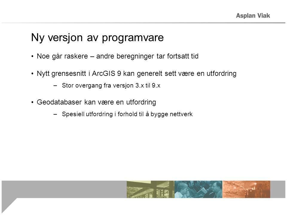 Ny versjon av programvare •Noe går raskere – andre beregninger tar fortsatt tid •Nytt grensesnitt i ArcGIS 9 kan generelt sett være en utfordring –Sto