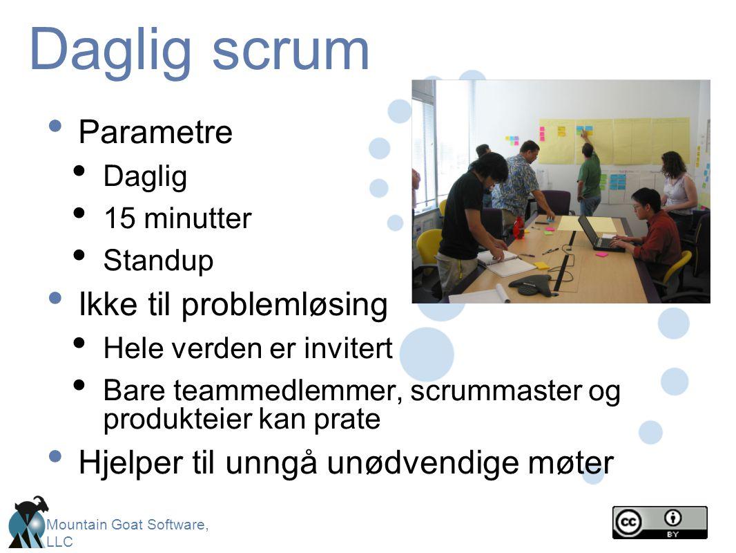 Mountain Goat Software, LLC Daglig scrum • Parametre • Daglig • 15 minutter • Standup • Ikke til problemløsing • Hele verden er invitert • Bare teamme