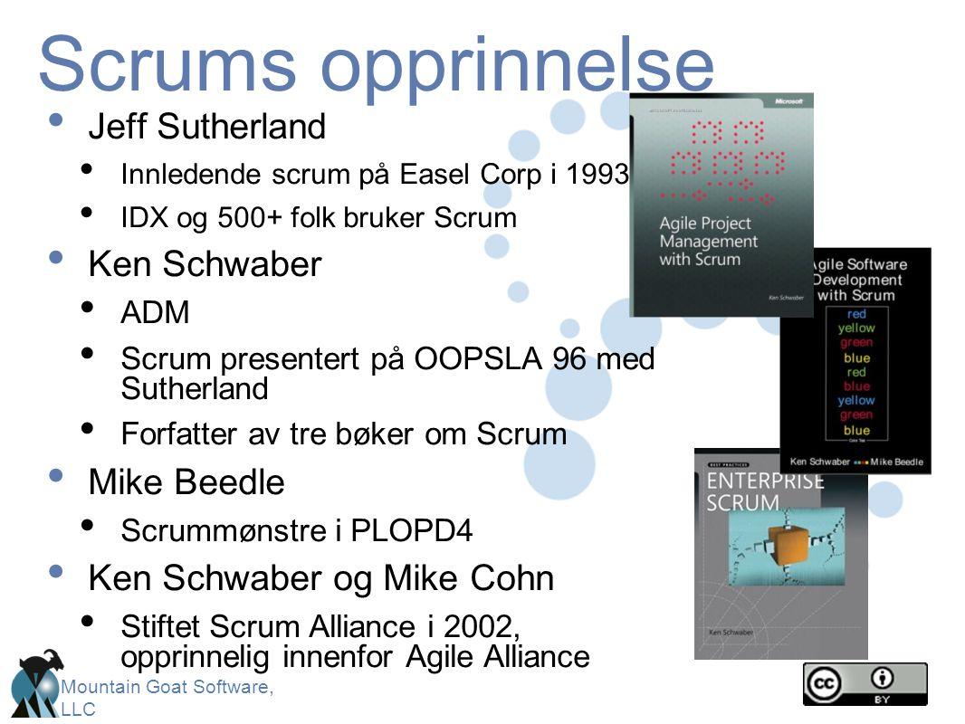 Mountain Goat Software, LLC Scrums opprinnelse • Jeff Sutherland • Innledende scrum på Easel Corp i 1993 • IDX og 500+ folk bruker Scrum • Ken Schwabe
