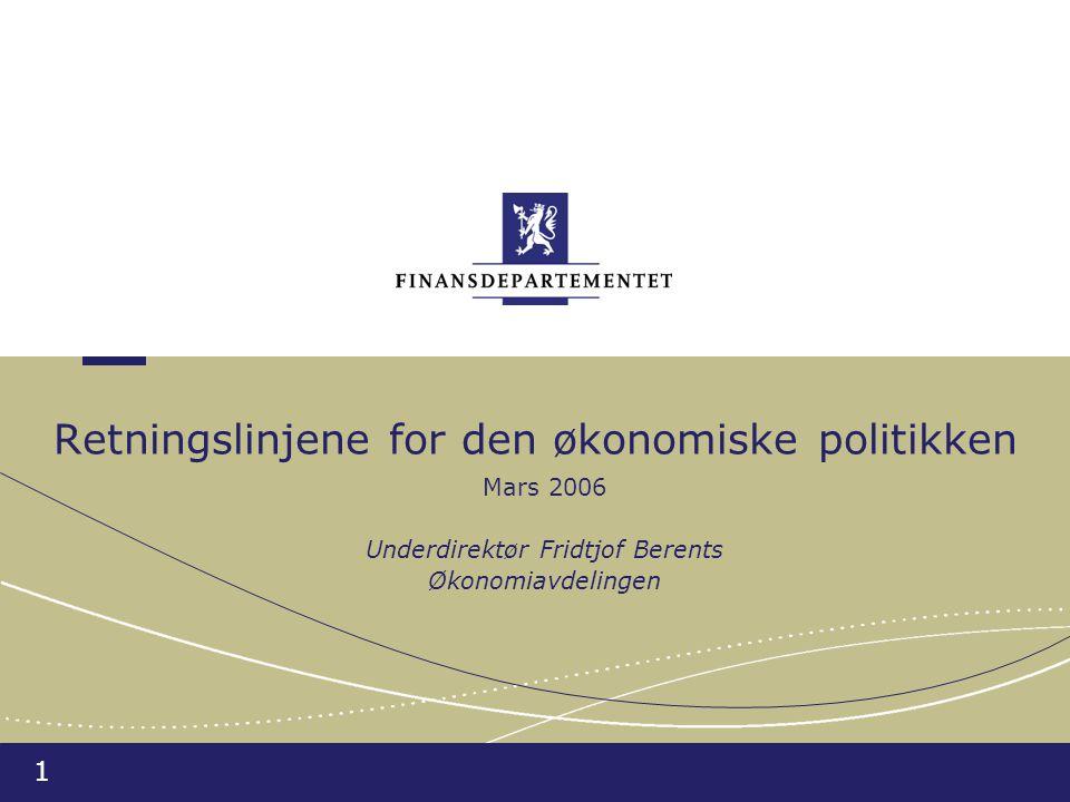1 Retningslinjene for den økonomiske politikken Mars 2006 Underdirektør Fridtjof Berents Økonomiavdelingen