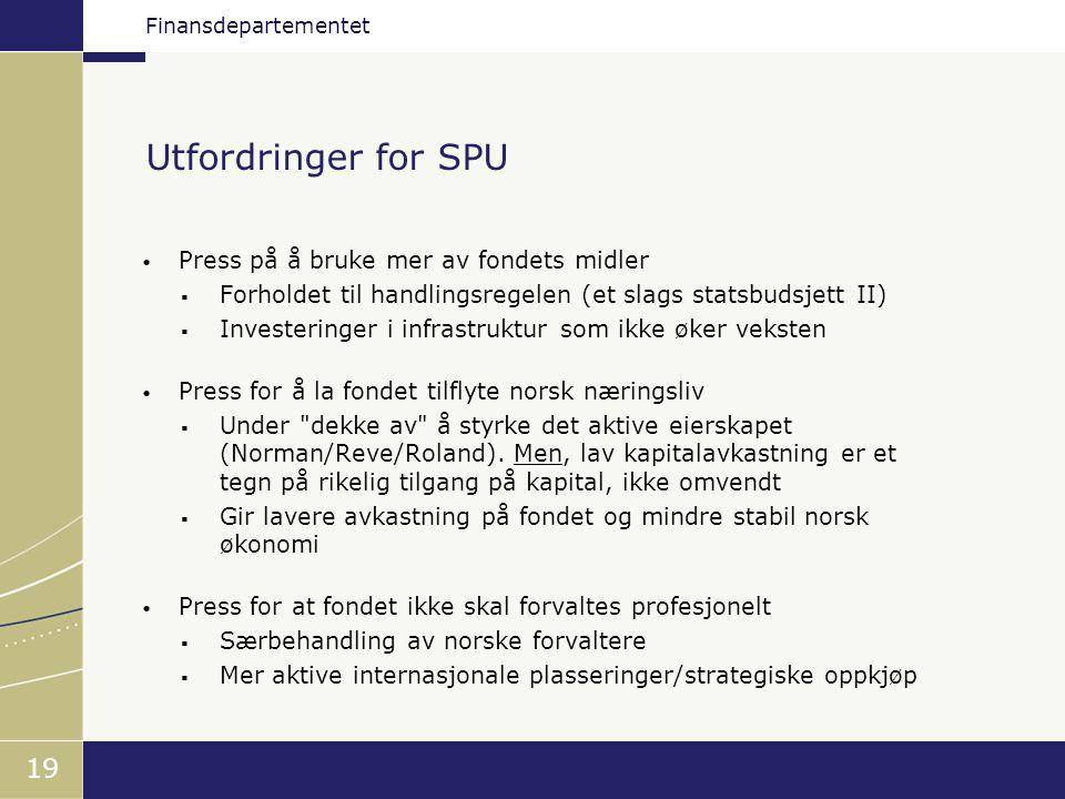 Finansdepartementet 19 Utfordringer for SPU • Press på å bruke mer av fondets midler  Forholdet til handlingsregelen (et slags statsbudsjett II)  In