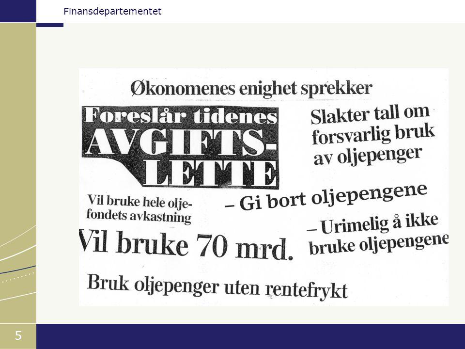 Finansdepartementet 16 Statsbudsjettet og Statens petroleumsfond Mrd. kroner