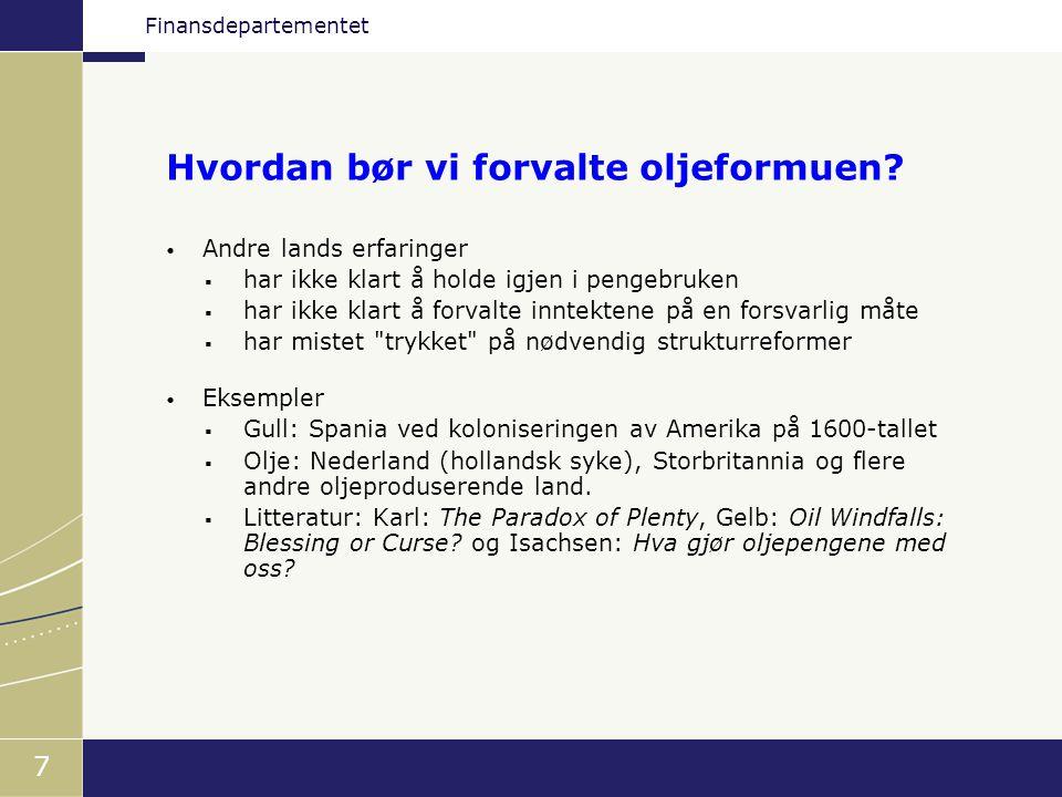 Finansdepartementet 18 • Finansdepartementet gir retningslinjer for forvaltningen, herunder - hvilke land fondet skal investeres i - hvilke aktivaklasser (aksjer, obligasjoner) - hvilke referanseindekser som skal følges - risikorammer for Norges Banks forvaltning • Retningslinjene er reflektert i fondets referanseportefølje • Norges Bank skal, innenfor retningslinjene, søke å oppnå høyest mulig avkastning innenfor moderat avkastning.