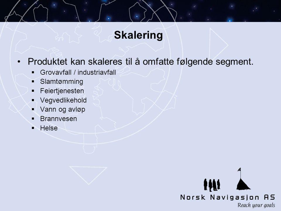 Skalering •Produktet kan skaleres til å omfatte følgende segment.