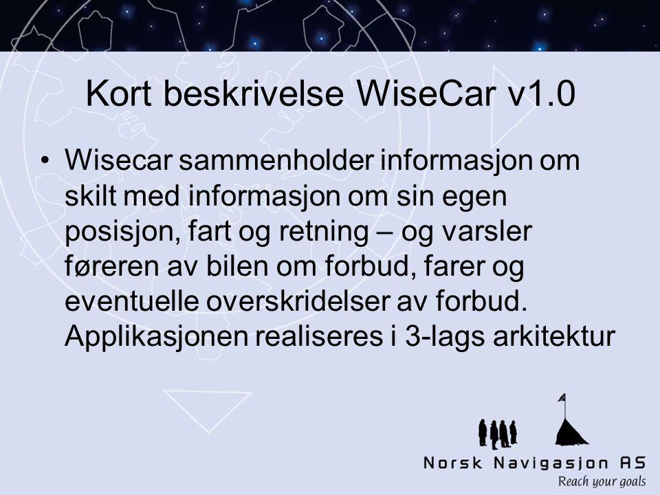 Kort beskrivelse WiseCar v1.0 •Wisecar sammenholder informasjon om skilt med informasjon om sin egen posisjon, fart og retning – og varsler føreren av bilen om forbud, farer og eventuelle overskridelser av forbud.