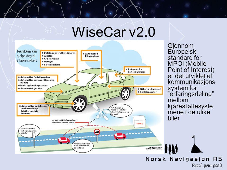 WiseCar v2.0 Gjennom Europeisk standard for MPOI (Mobile Point of Interest) er det utviklet et kommunikasjons system for erfaringsdeling mellom kjørestøttesyste mene i de ulike biler