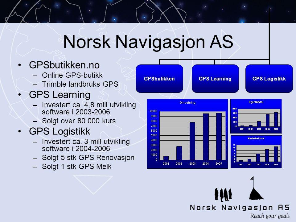 Norsk Navigasjon AS •GPSbutikken.no –Online GPS-butikk –Trimble landbruks GPS •GPS Learning –Investert ca.