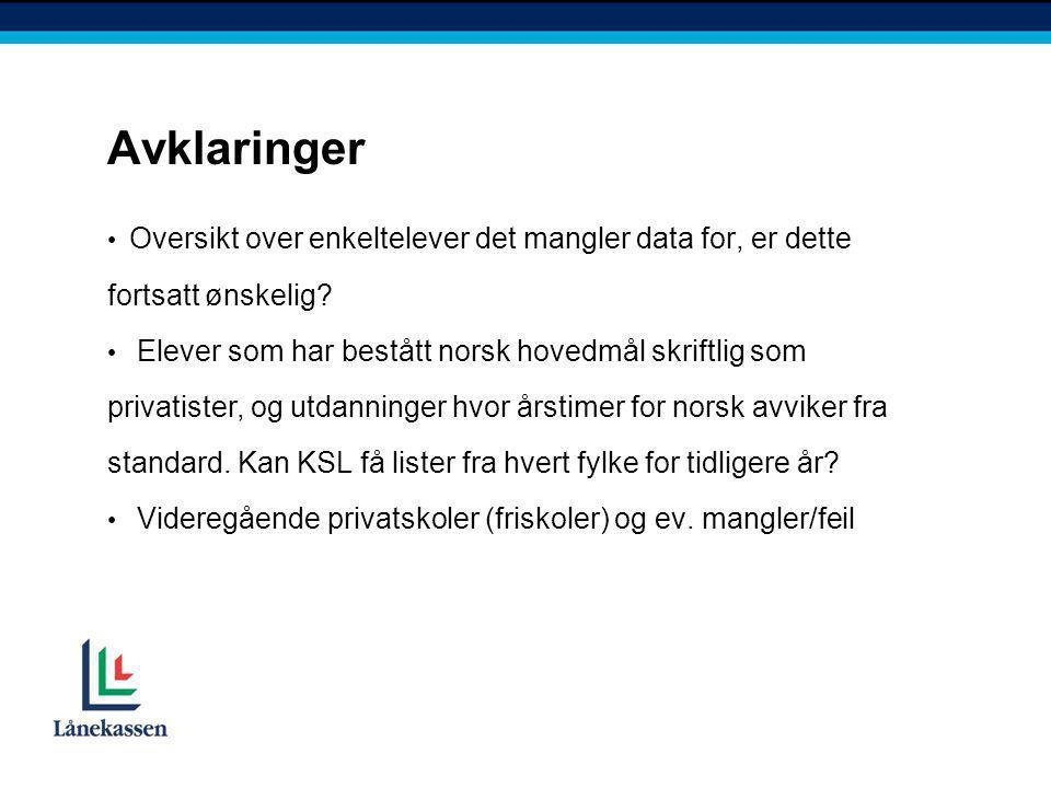 Avklaringer • Oversikt over enkeltelever det mangler data for, er dette fortsatt ønskelig? • Elever som har bestått norsk hovedmål skriftlig som priva