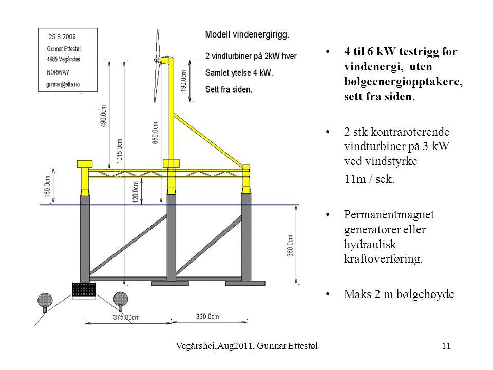 Vegårshei,Aug2011, Gunnar Ettestøl11 •4 til 6 kW testrigg for vindenergi, uten bølgeenergiopptakere, sett fra siden.