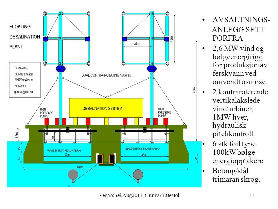 Vegårshei,Aug2011, Gunnar Ettestøl17 •AVSALTNINGS- ANLEGG SETT FORFRA •2,6 MW vind og bølgeenergirigg for produksjon av ferskvann ved omvendt osmose.