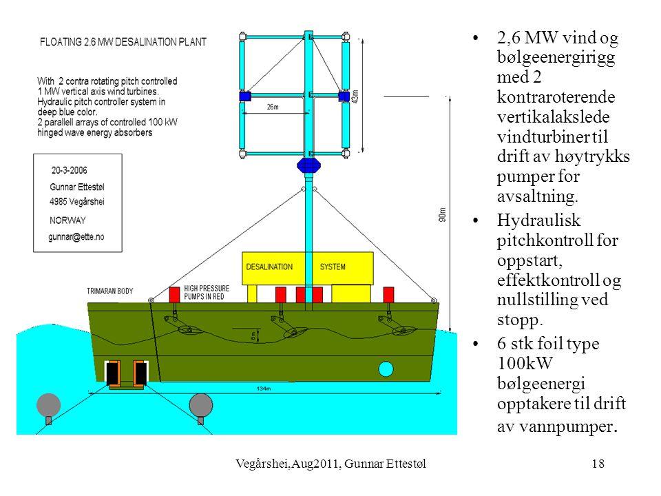 Vegårshei,Aug2011, Gunnar Ettestøl18 •2,6 MW vind og bølgeenergirigg med 2 kontraroterende vertikalakslede vindturbiner til drift av høytrykks pumper for avsaltning.
