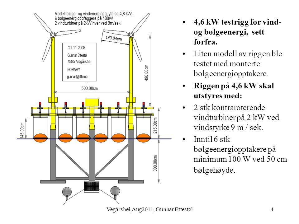 Vegårshei,Aug2011, Gunnar Ettestøl5 •Dekk for 4,6 kW vind- og bølgeenergirigg.