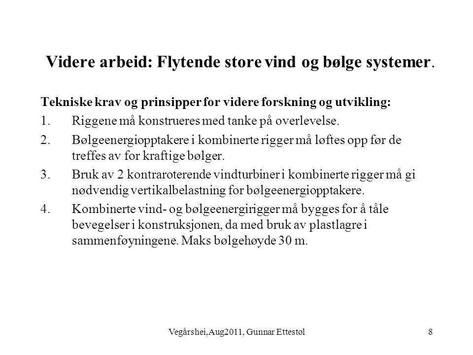 Vegårshei,Aug2011, Gunnar Ettestøl8 Videre arbeid: Flytende store vind og bølge systemer.
