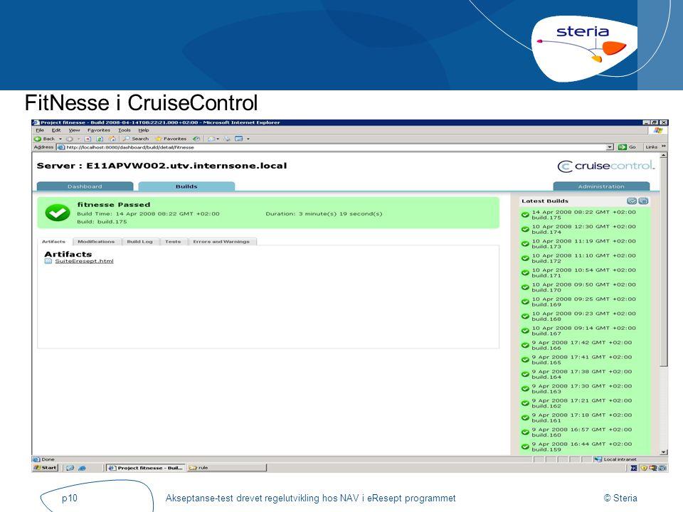 © Steria Akseptanse-test drevet regelutvikling hos NAV i eResept programmetp10 FitNesse i CruiseControl