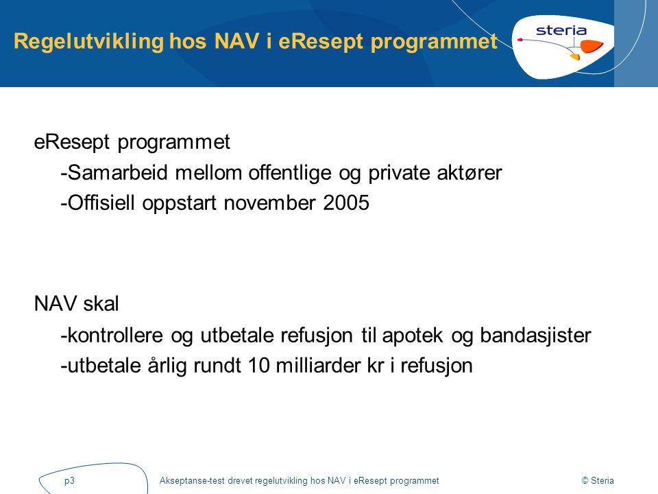 © Steria Akseptanse-test drevet regelutvikling hos NAV i eResept programmetp3 Regelutvikling hos NAV i eResept programmet eResept programmet -Samarbei