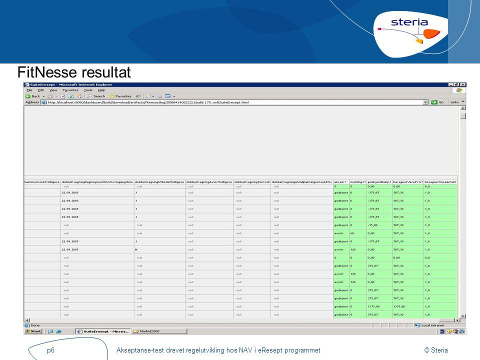 © Steria Akseptanse-test drevet regelutvikling hos NAV i eResept programmetp6 FitNesse resultat