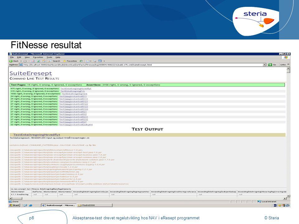 © Steria Akseptanse-test drevet regelutvikling hos NAV i eResept programmetp8 FitNesse resultat