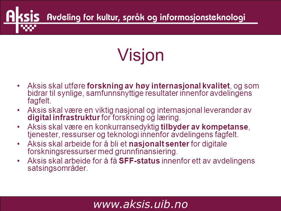 www.aksis.uib.no Visjon •Aksis skal utføre forskning av høy internasjonal kvalitet, og som bidrar til synlige, samfunnsnyttige resultater innenfor avd