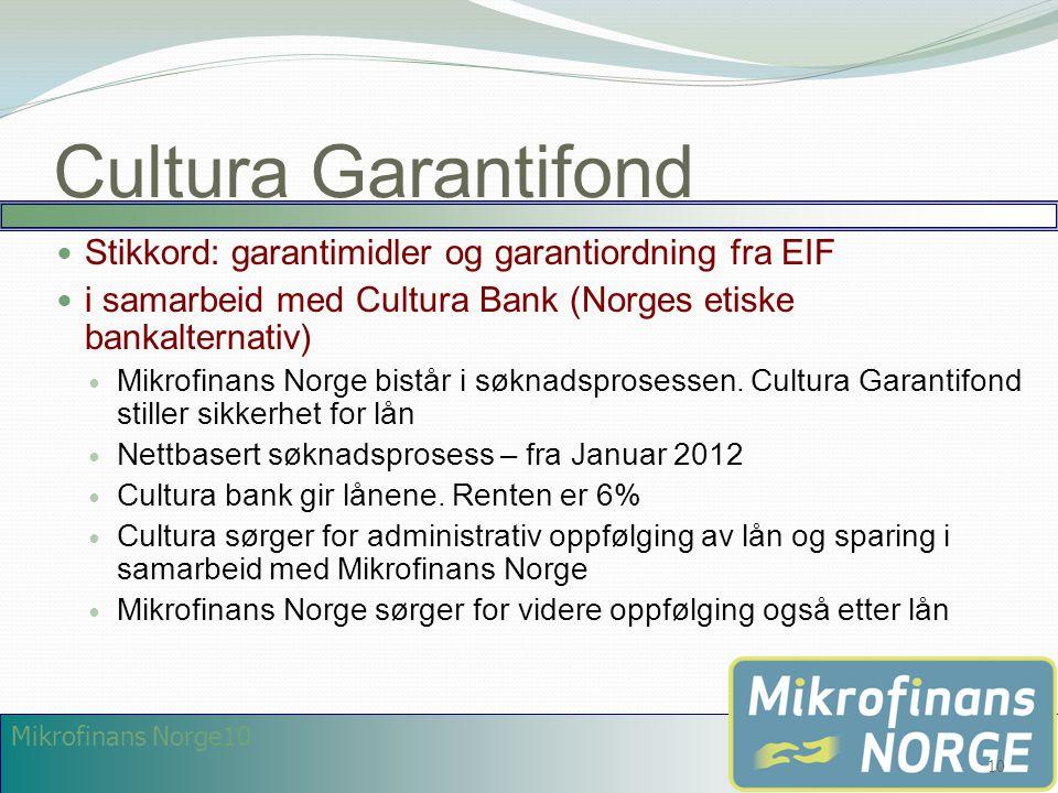 Mikrofinans Norge10 Cultura Garantifond  Stikkord: garantimidler og garantiordning fra EIF  i samarbeid med Cultura Bank (Norges etiske bankalternat