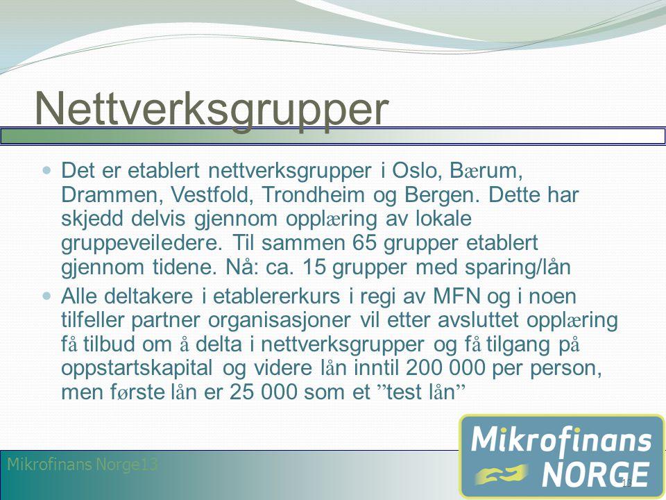 Mikrofinans Norge13 Nettverksgrupper  Det er etablert nettverksgrupper i Oslo, B æ rum, Drammen, Vestfold, Trondheim og Bergen. Dette har skjedd delv