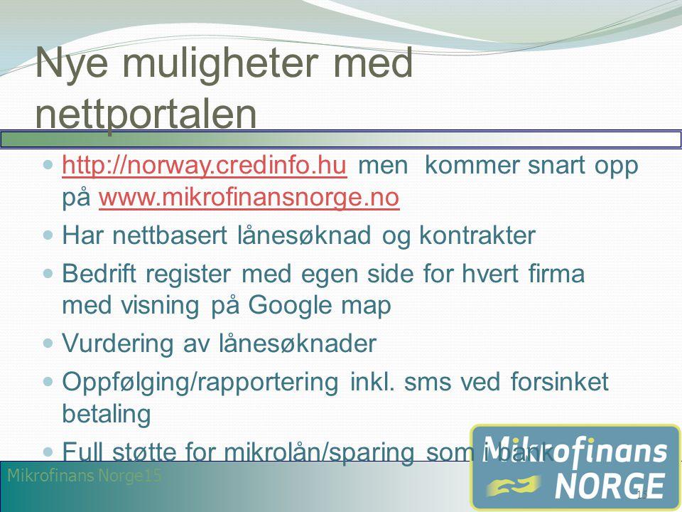Mikrofinans Norge15 Nye muligheter med nettportalen  http://norway.credinfo.hu men kommer snart opp på www.mikrofinansnorge.no http://norway.credinfo