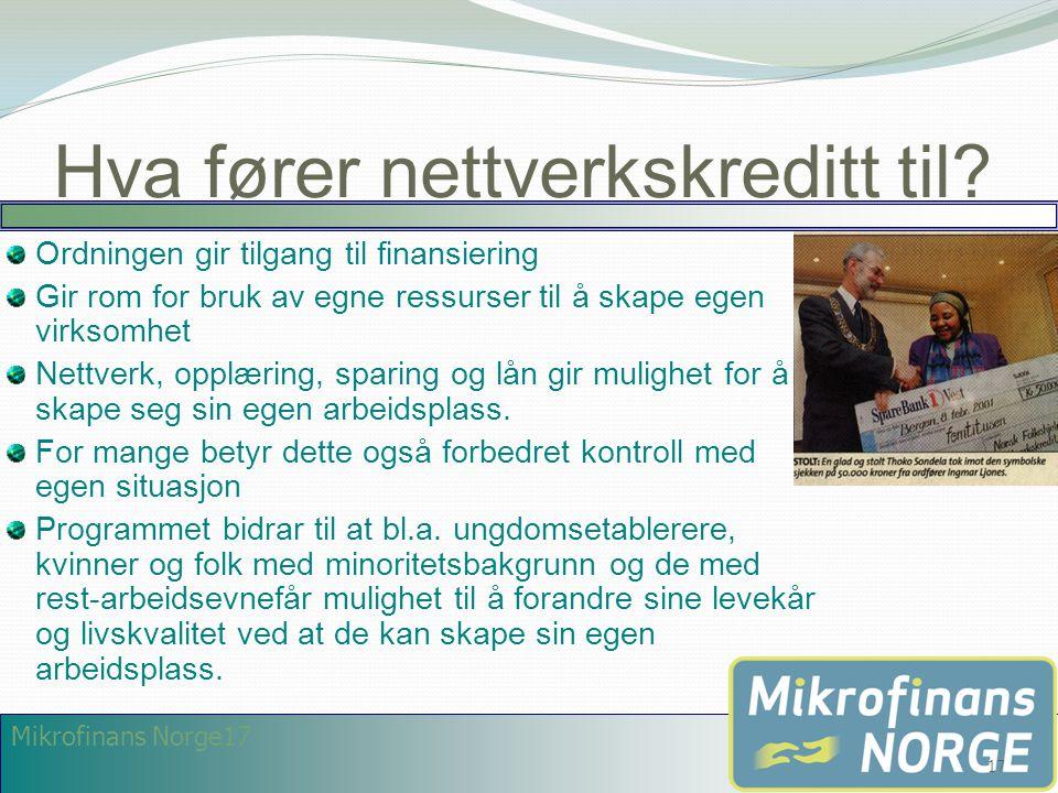 Mikrofinans Norge17 Hva fører nettverkskreditt til? Ordningen gir tilgang til finansiering Gir rom for bruk av egne ressurser til å skape egen virksom