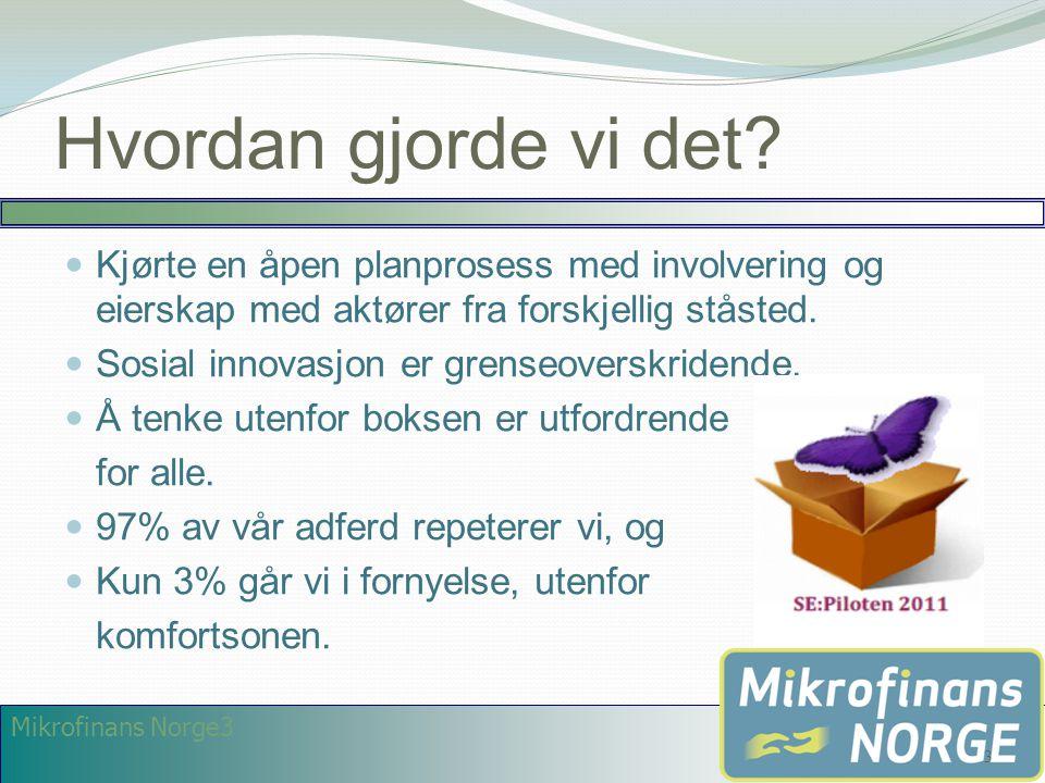Mikrofinans Norge3 Hvordan gjorde vi det?  Kjørte en åpen planprosess med involvering og eierskap med aktører fra forskjellig ståsted.  Sosial innov