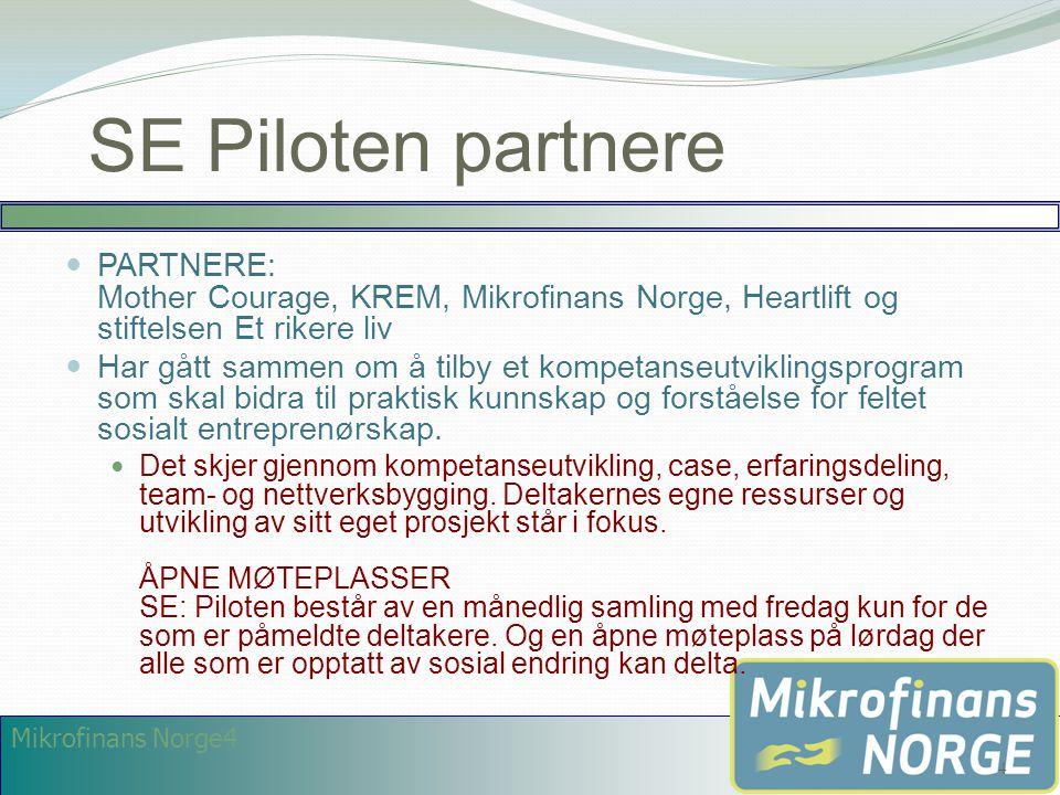 Mikrofinans Norge4 SE Piloten partnere  PARTNERE: Mother Courage, KREM, Mikrofinans Norge, Heartlift og stiftelsen Et rikere liv  Har gått sammen om