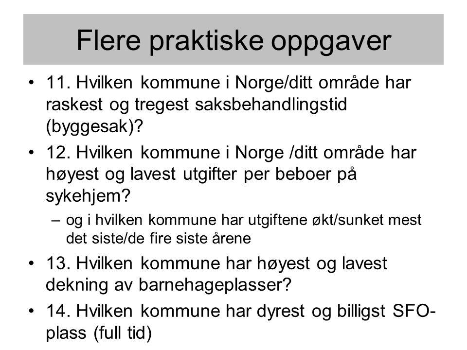 Flere praktiske oppgaver •11. Hvilken kommune i Norge/ditt område har raskest og tregest saksbehandlingstid (byggesak)? •12. Hvilken kommune i Norge /