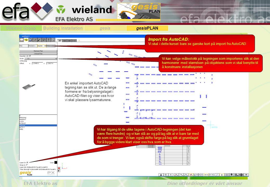Wieland GroupBuilding Installationgesis gesisPLAN EFA Elektro as Dine utfordringer er vårt ansvar Import fra AutoCAD: Vi skal i dette kurset bare se ganske kort på import fra AutoCAD Vi kan velge målestokk på tegningen som importeres slik at den harmonerer med størrelsen på objektene som vi skal benytte til å konstruere installasjonen Vi har tilgang til de ulike lagene i AutoCAD-tegningen (det kan være flere hundre) og vi kan slå av og på lag slik at vi bare tar med de som vi trenger.